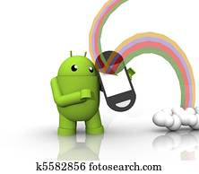 3D ANDROID WITH RAINBOW PHONE