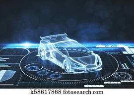 Artificial intelligence, transport and projection concept