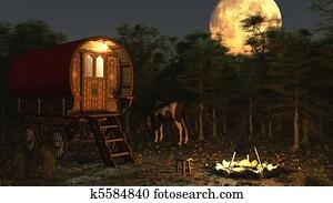 Gypsy Wagon in the Moonlight