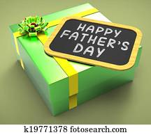 Happy Fathers Day Present Showing Parenting Celebration Occasion Or Holidays