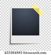 clipart of polaroid on a pale yellow background photo frame blue