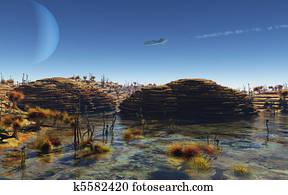 Spaceship flying over alien planet
