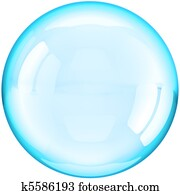 Water soap bubble ball colored cyan