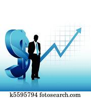 Blue theme businessman silhouette showing financial success