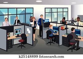 leute, arbeitende, in, büro