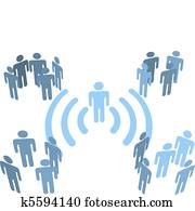 Person wifi wireless connection to people groups
