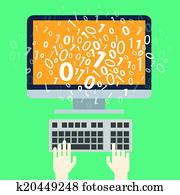 User programming coding binary code. Icon for web, blog, seo, social media, internet advertising. Flat design