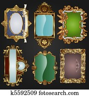 Vintage retro gold frames and labels