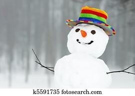 winter funny snowman