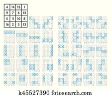 Clipart of 4x4 magic square with sum 34 of planet Jupiter