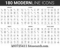Medicine, beauty wedding, travel vector illustration, flat thin line icon set of bridal symbols and sport or medical healthcare collection