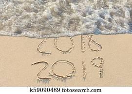New Year 2019 beach sign