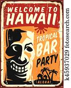 Retro Hawaii metal sign for tropical bar