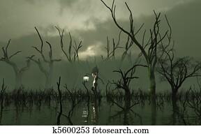 Will O' The Wisp in a misty swamp