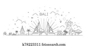 Bali travel banner with famous landmarks