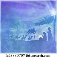 Biblical scene - birth of Jesus in Bethlehem