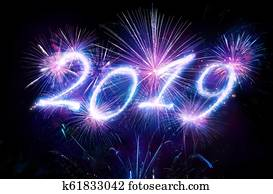 Happy New Years 2019 With Fireworks