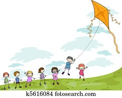Kids Playing with a Kite