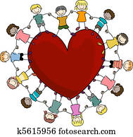 Kids Surrounding a Heart