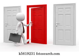 Man with entering a red door