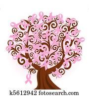 vektor, abbildung, von, a, brustkrebs, rosafarbenes band, baum