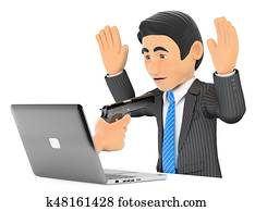 3D Businessman suffering a digital robbery. Ransomware