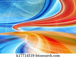 Abstract technology background of blue curved shapes in dynamic speed motion. Computer generated illustration.