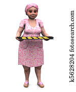 Chubby lady holding baking tray with cookies.