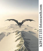 Grey Dragon Over Snowy Mountains