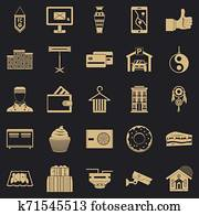 Lodge icons set, simple style