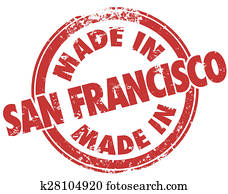 Made in San Francisco Red Grunge Stamp Products Manufactured SF California
