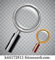Silver and Golden Magnifying Glass