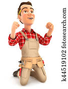 3d successful handyman on his knees