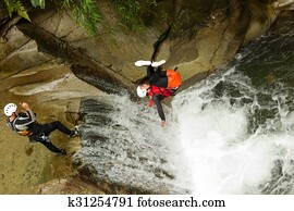 Canyoning Waterfall Stunt