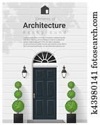 elemente, von, architektur, eingangstür, hintergrund, 16