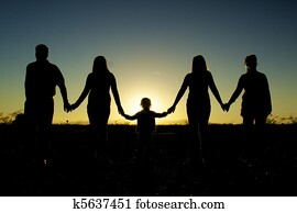 Family Togetherness Silhouetted