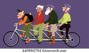 Riding a tandem bike
