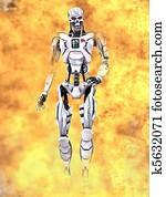 Robot walking through flames