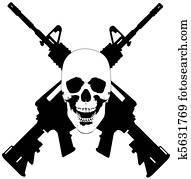 Skull and Guns - vector