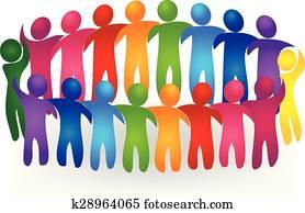 Vector Teamwork meeting people logo