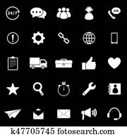 Customer service icons on black background