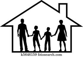 familie, haus, eltern, kinder, innenseite, sicherer, eigenheim