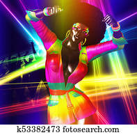 Retro Disco Girl with Afro.