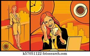 büroangestellte, frau, kaffeetrinken, und, sprechen, auf, dass, telefon.