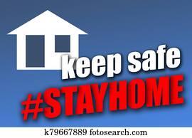 Keep safe - Stay home blue