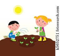 kindern, pflanzen, betriebe, in, kleingarten