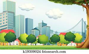 Trees near the tall buildings