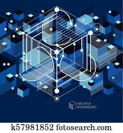 Vector of modern abstract cubic lattice lines blue background