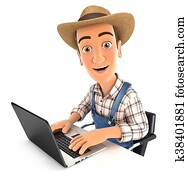 3d farmer working on laptop