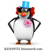 3d Penguin clown
